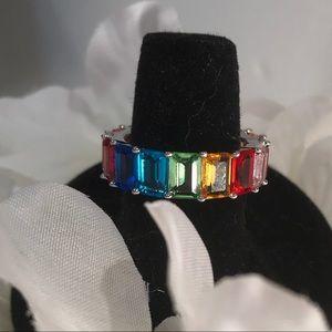Sparkling  Multicolor Cubic Zirconia Band Ring